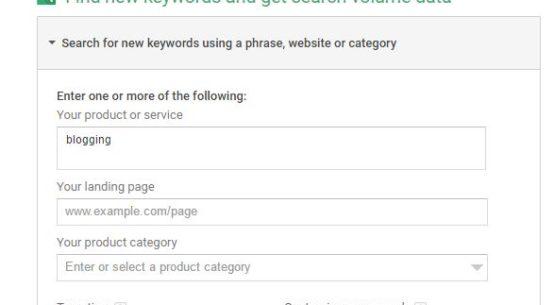 Keyword Planner Start Blogging