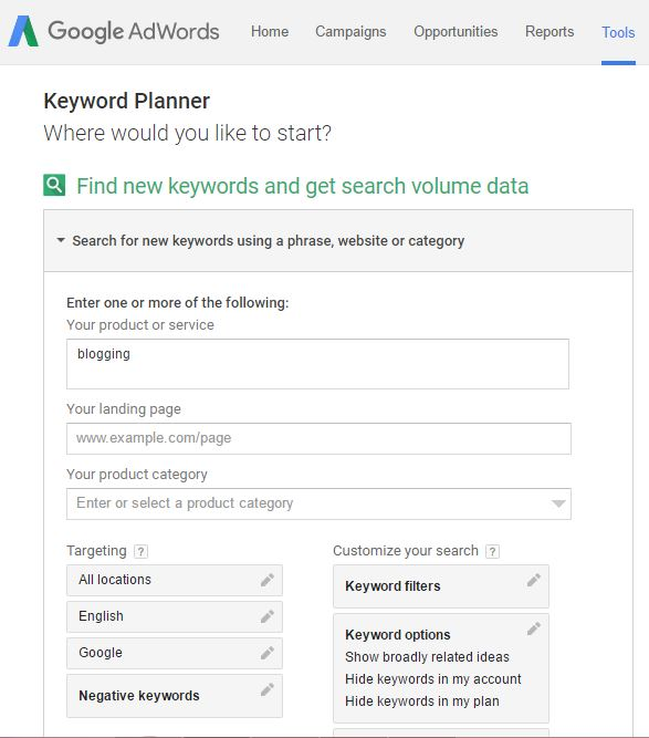 Keyword Planner Start Blogging